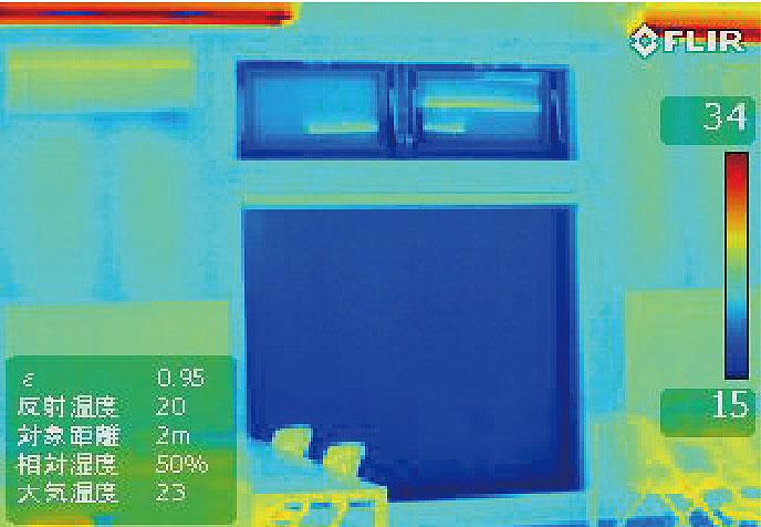 ハニカム構造・断熱ブラインド設置前のサーモ画像(冬)