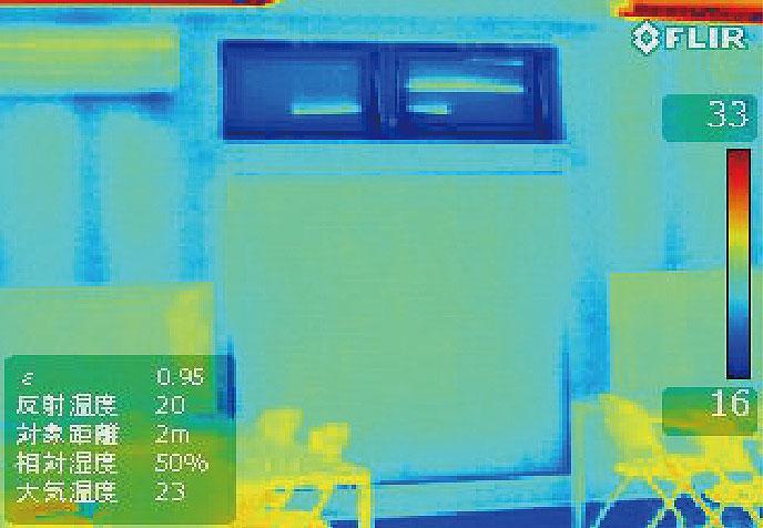 ハニカム構造・断熱ブラインド設置後のサーモ画像(冬)